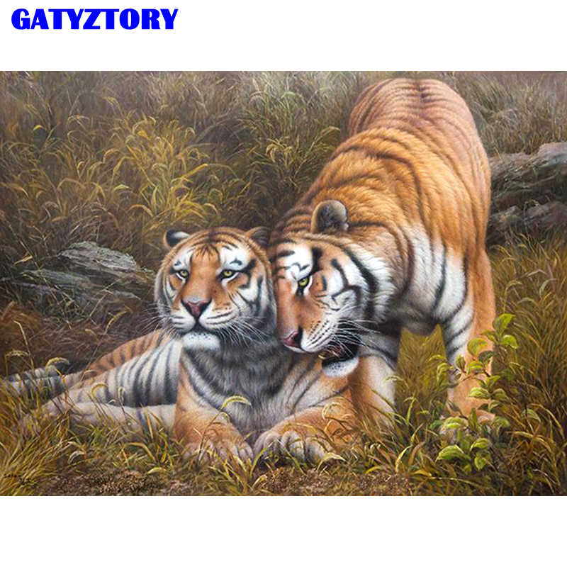 Frameless Picture Tigers Diy Digital Painting By Numbers Wall Art Picture Home Decor Acrylic Paint By Numbers 40*50cm Artwork
