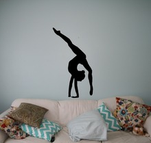 Difficult Gymnastics Girl Wall Decal Elegant Sports Stickers Girls Room Modern Dancer Artistic Adhesive StickerSYY477