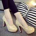 Lace Sexy Black Women Pumps Platform Breathable High Heels Shoes Slip-on Cut-Outs High Shoes Red Bottoms Pumps D117 35