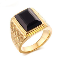 Large Stone Ring For Men Male Black Agate Ring Quality 18K Gold Plated Titanium Jewelry Ring