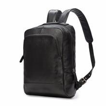 Real Leather Black School Bag 1517 Laptop Backpack Computer Backpacks Anti-theft Waterproof Bags for Men Women 2107
