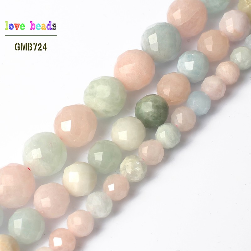 """natural 10mm Faceted Pink Morganite Round Loose Beads 15/"""""""