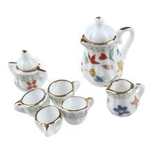 15 шт. миниатюрный кукольный домик Фарфоровая столовая посуда Чайный набор посуда чашка тарелка Красочный цветочный принт