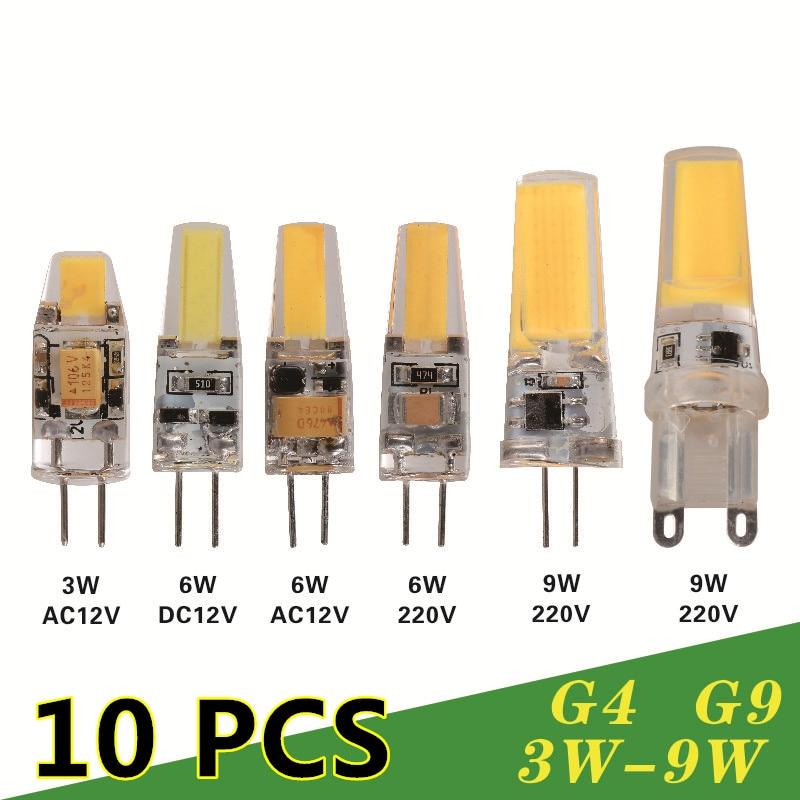 10 pcs Dimmable font b LED b font Lamp G4 G9 AC DC 12V 220V 3W
