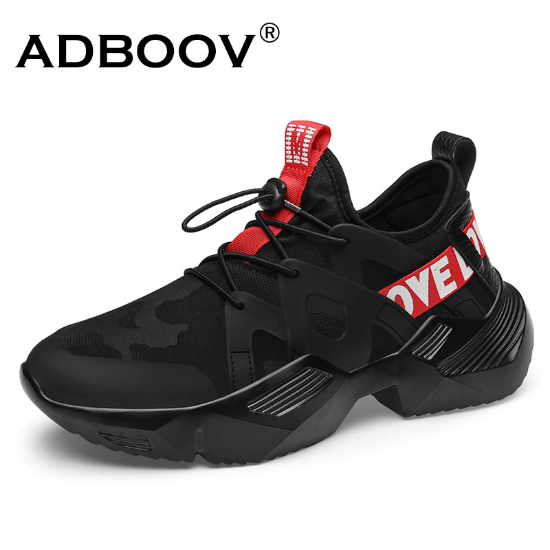 ADBOOV 2019 New Trendy Sneakers Men Lycra Upper Breathable Chunky Shoes Anti-Slip Vulcanized Shoes Zapatillas Hombre Black White