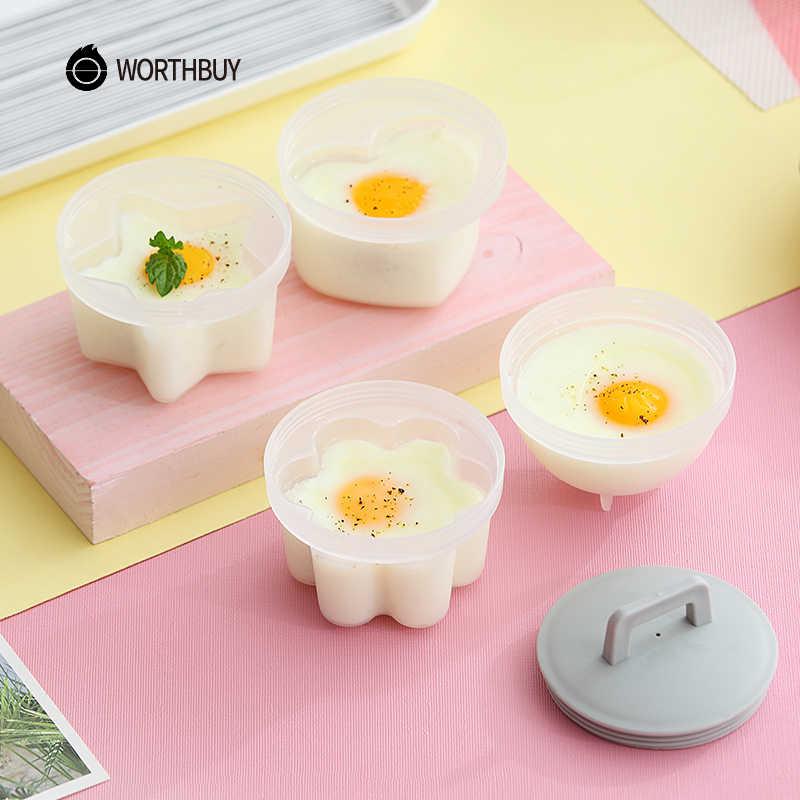 Worthbuy 4 pçs/set bonito ovo caldeira de plástico ovo poacher conjunto cozinha ovo fogão ferramentas molde de ovo forma com tampa escova panqueca fabricante
