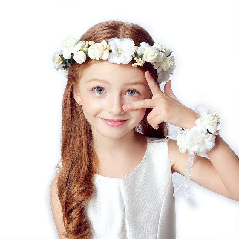 Corona Cabeza de niña Cabeza de flor Corona Accesorios para el cabello nupcial Cabeza de flor artificial Corona para el pelo Guirnalda de la boda Guirnalda
