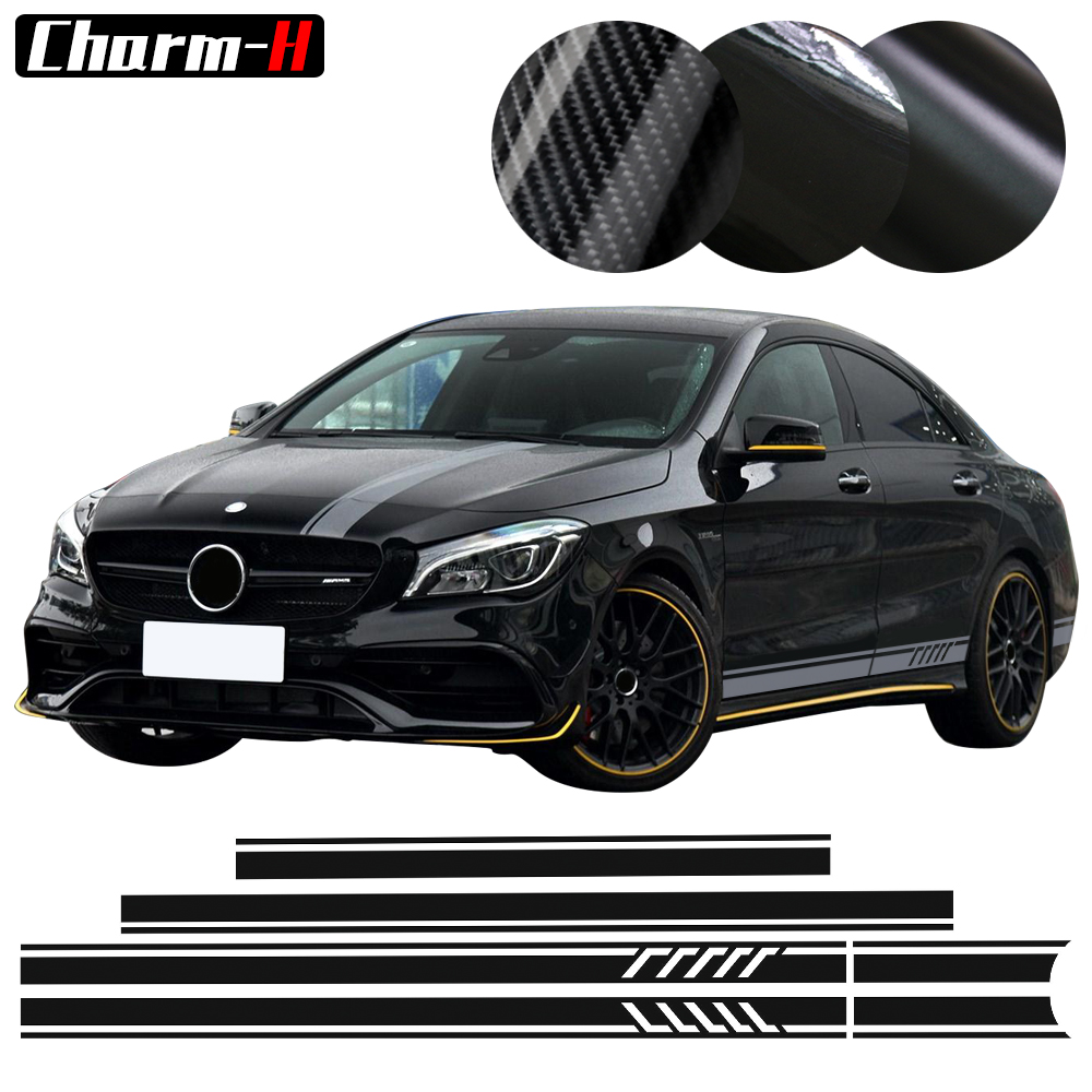 Edisi 1 Gaya Top Roof Bonnet Side Stripes Decal Stiker untuk Mercedes Benz W117 C117 X117 AMG CLA45 Hitam / Putih / 5D Karbon