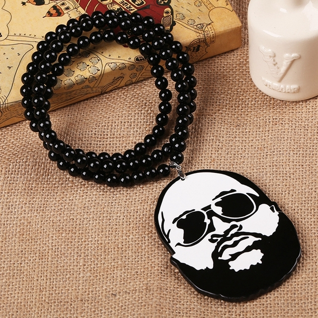 Wooden rick ross face pendant piece chain bead necklace good wood wooden rick ross face pendant piece chain bead necklace good wood mmg style aloadofball Gallery