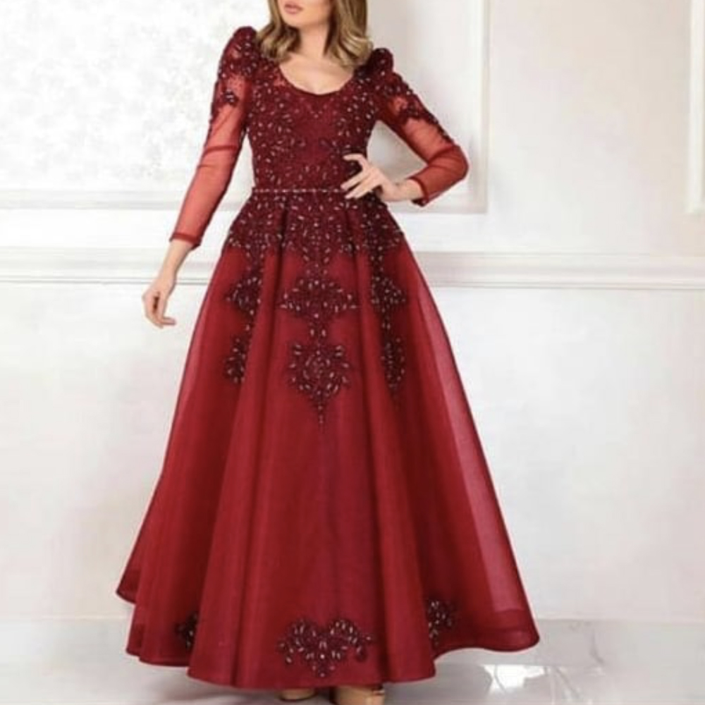 red   prom     dresses   2019 lace beaded long sleeve tulle arabic evening   dresses   gowns vestidos de fiesta