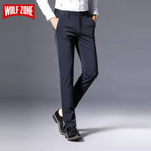 ФОТО wolf zone brand casual men pants mens business classics midweight straight full length fashion male trousers size 29-36