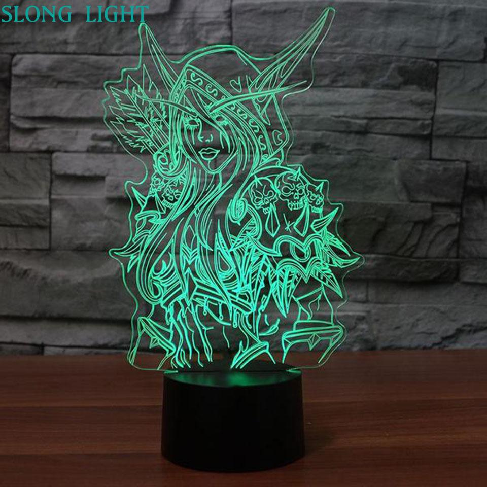 Image 2 - 3d Lamp World Of Warcraft Childrens Night Light Led Bedroom Decor Holiday Gift Wow Sylvanas Windrunner Kids Night Lamp USB-in LED Night Lights from Lights & Lighting