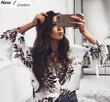 Women Sweet Summer Blouse Shirts Puff Sleeve Bandage V Neck Loose Blouse European Style Flower Print Tops Blusas