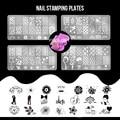 4 Ногтевых Пластин + 1 Стампер + 1 Скребок набор 2 Nail Art Image Stamp Штамповка Плиты Маникюр Шаблон Nail Art инструменты