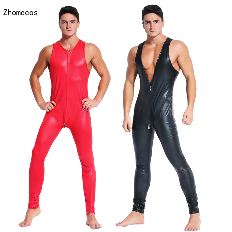 Men's Exotic Faux Leather Catsuit Costumes Latex Teddies Front Zipper For Club Locomotive Game BodySuit DS Party Size M-XXL