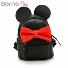 Berno Fly 2017 mini backpack female bag quality pu leather women backpacks Korean version of Mickey ears sweet bow College Wind