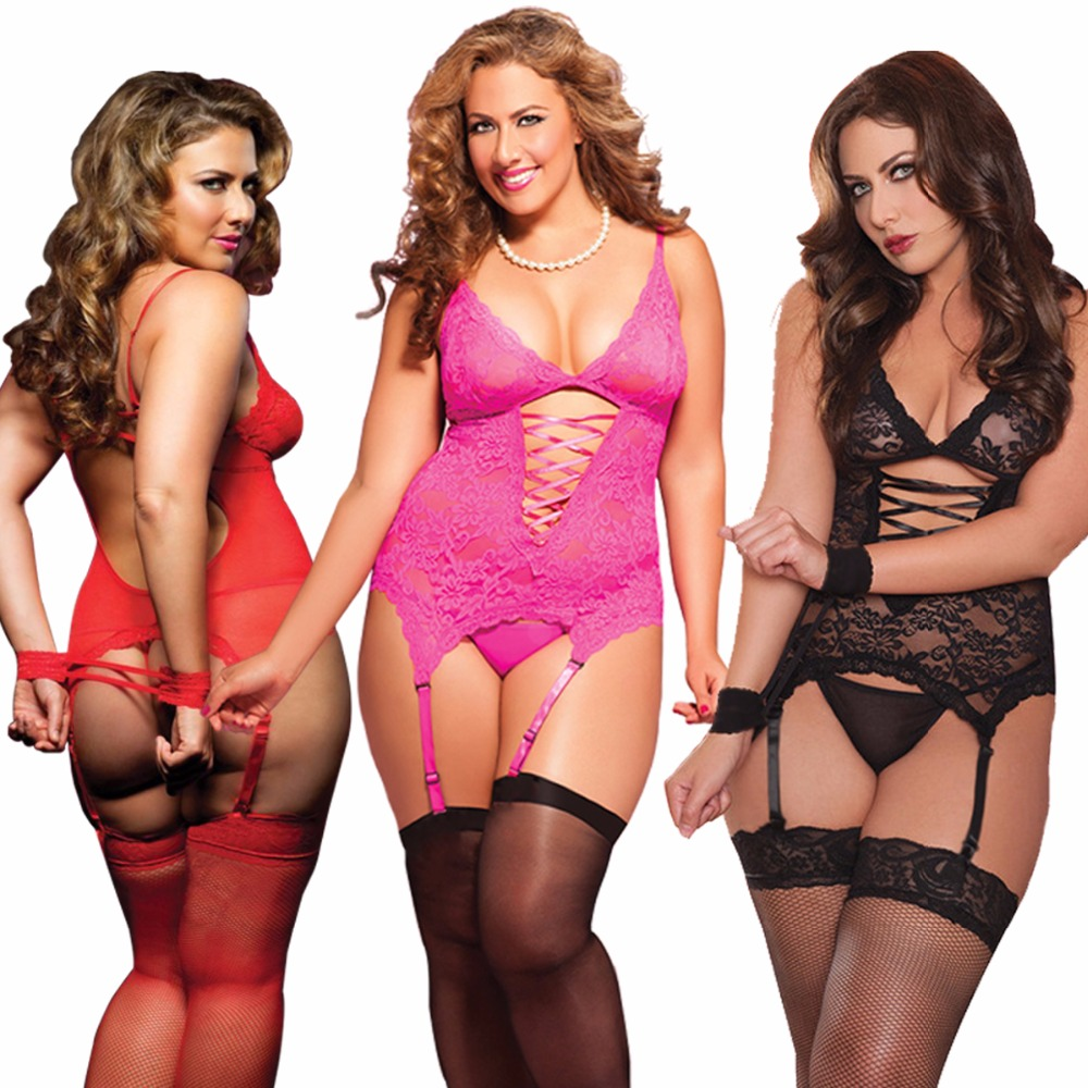Red Black Pink Plus Size S-6XL Lace Fast Delivery Sexy Lingerie Babydoll Corset Dress Chemise Cami Camisole Sleepwear