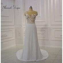 أماندا تصميم brautkleid الشاطئ عارضة كاب كم ألف خط الدانتيل الزهور تدفق الشيفون فستان الزفاف