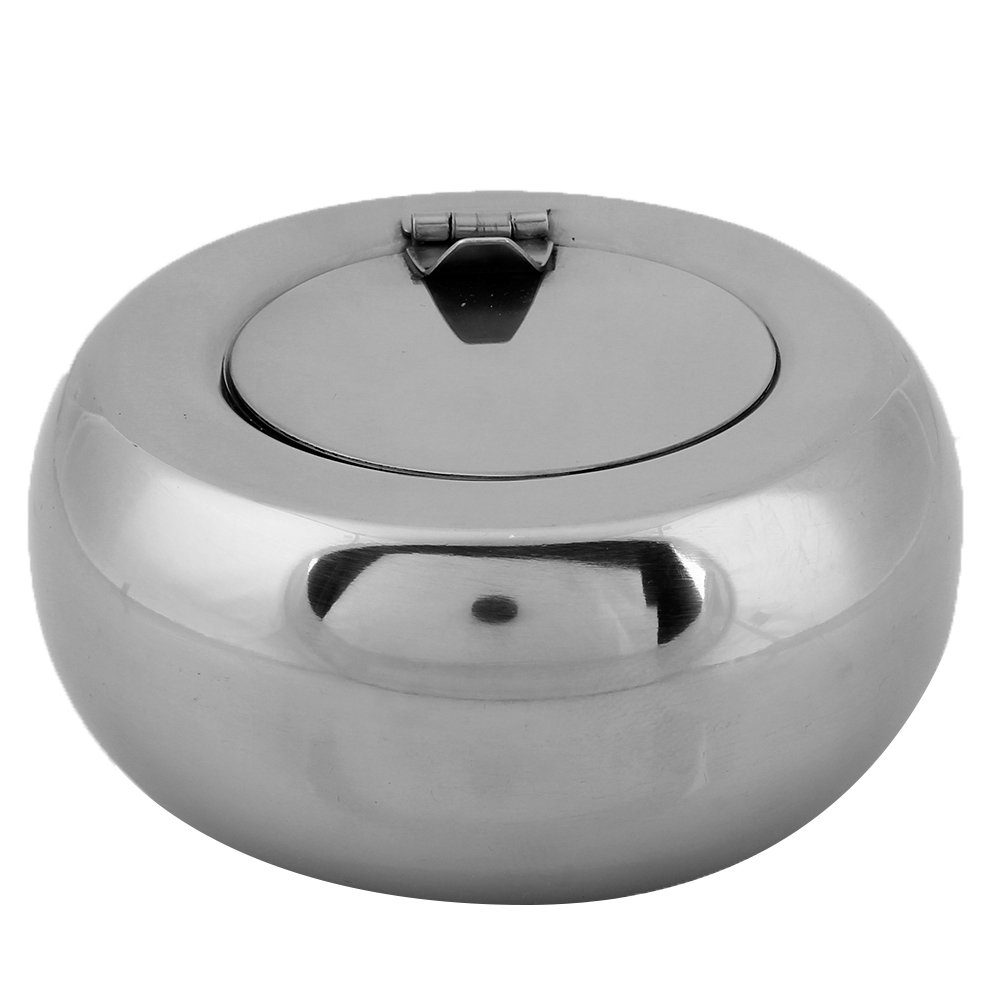 Large Drum Shape Ashtray Stainless Steel Cigarette Cigar Smoking Ash Tray Home Household Push Down Smoking Easy Clean Ashtrays