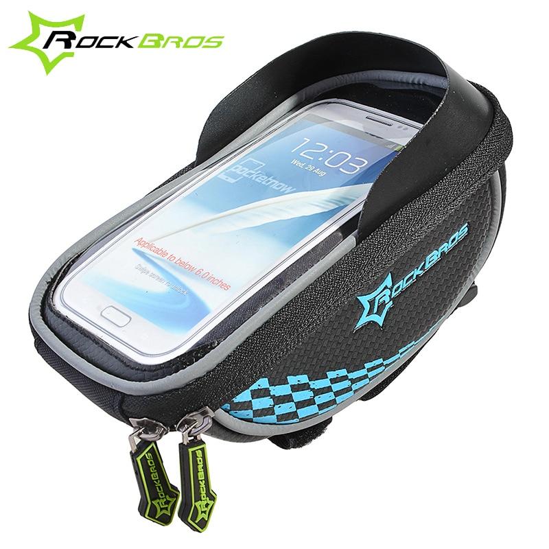 Цена за ROCKBROS Велосипедная сумка на руль Сумки для велосипеда Велосумка& водонепроницаемый чехол Нейлоноваясумка  сенсорным экраном для Смартфона и GPS аксессуары для велосипеда велоаксессуары3 цветов