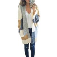 2017 Autumn Winter Fashion Women Long Sleeve Loose Knitting Cardigan Sweater Womens Knitted Female Cardigan Pull