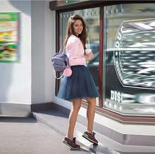 Dark Navy Blue Skirts Women Personalized Elastic Waistline A Line Knee Length Skirt Fashion Casual Tutu Skirt