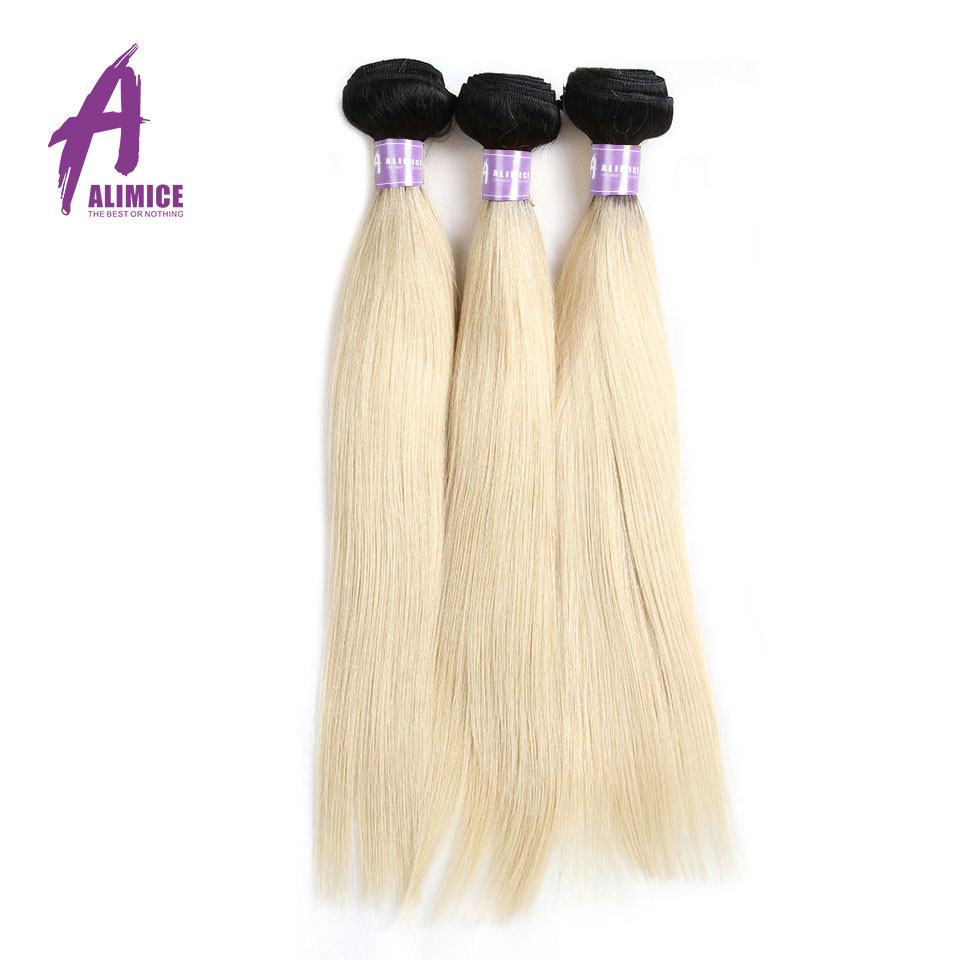 Ombre Malaysian Straight Hair 3Bundles T1b/613 Ombre Blonde Color Hair Bundles Alimice Hair Remy Human Hair Weaves Dark Roots