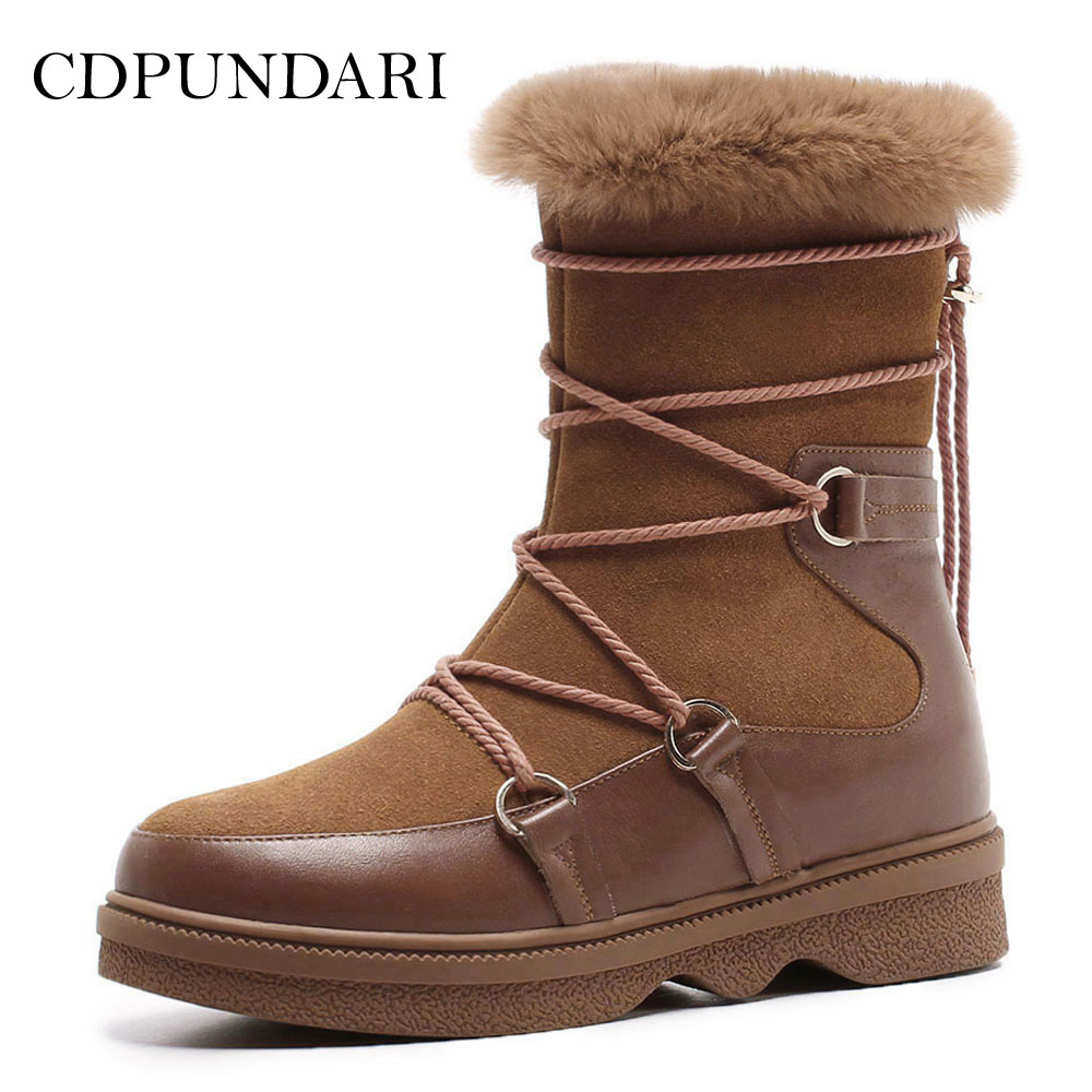 CDPUNDARI Genuine Leather snow boots women Winter shoes Ladies Plush Platform Ankle boots platform bowkont flocking snow boots
