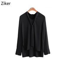 ФОТО ziker solid chiffon women blouses shirts v-neck long sleeve autumn and winter plus size tops bow tie loose shirt m-5xl