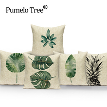 Cushion Cover banana leaf Chair home Bed Home Decor Pillow Case High Quality Beauty 45x45cm New Natural Vintage Covers