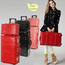 Wholesale Women retro travel luggage bag set 13 22 24inch pu leather trolley luggage sets high