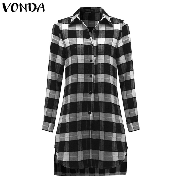 VONDA Pregnant Women Plaid Blouse Shirts 2018 Spring Fall Vintage Lapel Long Sleeve Pregnancy Tops Plus Size Maternity Clothings 2