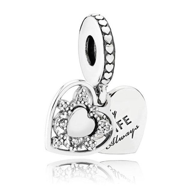 Enamel Mother & Daughter Son Love Hearts Best Friend Pendant Charm Fit Pandora Bracelet 925 Sterling Silver Bead Charm Jewelry 2