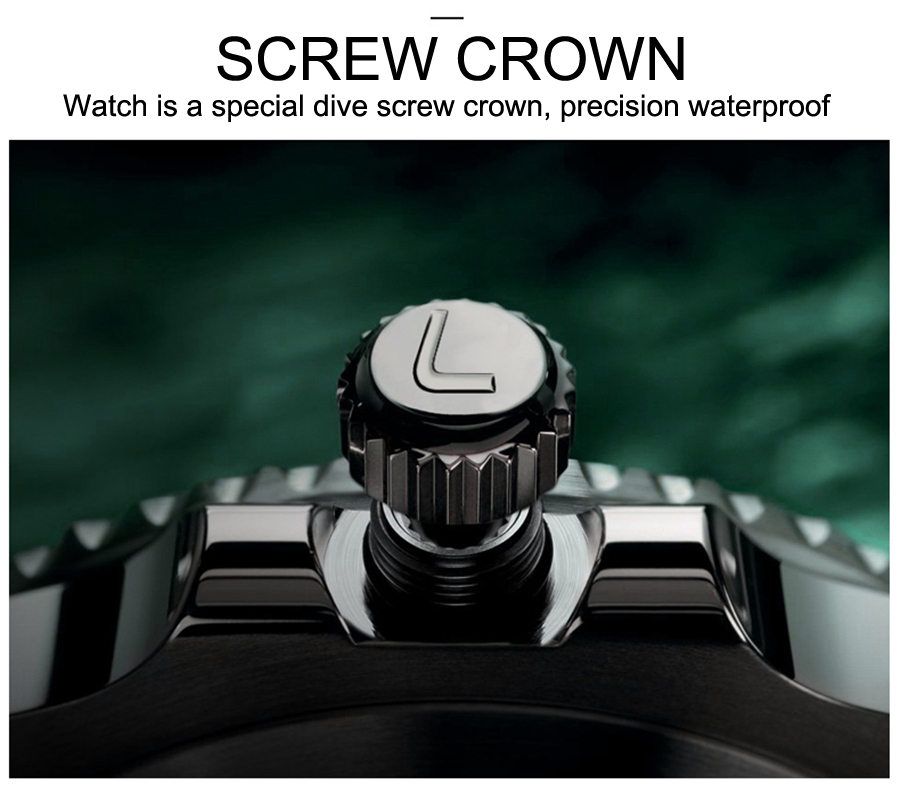Diving 200M LOREO Top Luxury Brand Date Full steel Dress Watches Waterproof Man Business Casual Automatic Mechanical Watch in Mechanical Watches from Watches