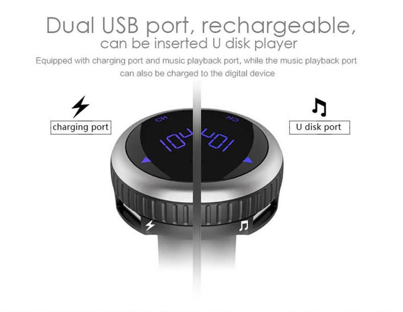 Samochodowy Odtwarzacz MP3 Audio Bluetooth Nadajnik FM Z Pilotem Zestaw Samochodowy Zestaw Głośnomówiący FM Modulator bezprzewodowy Ekran LCD w/TF gniazdo 9