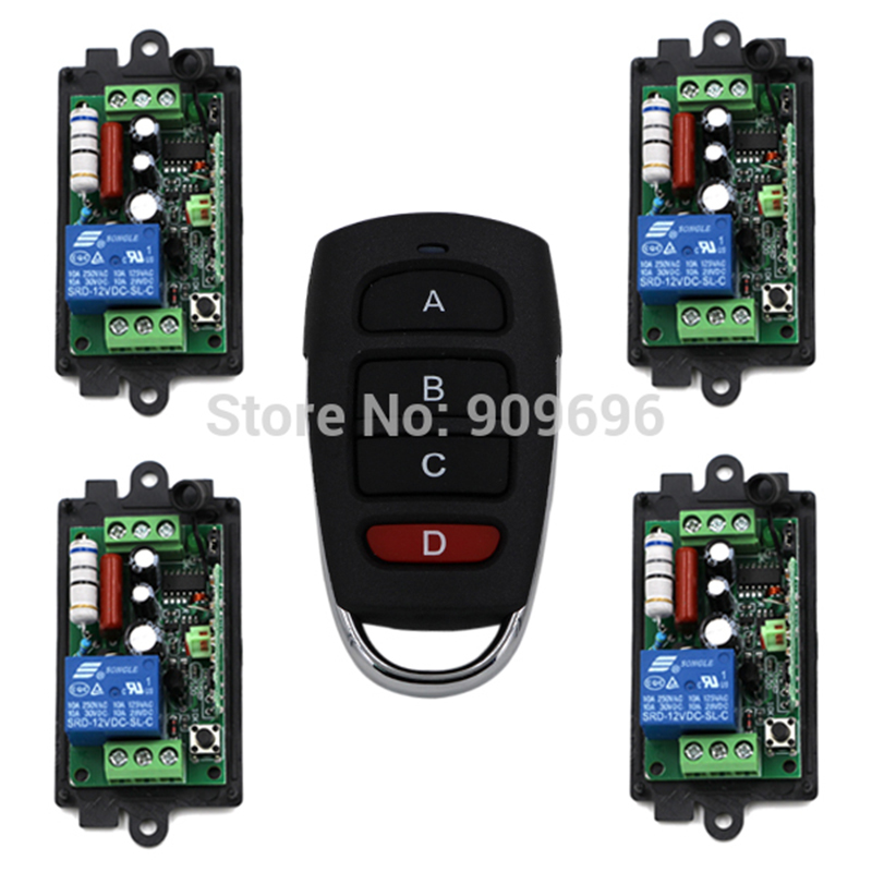 220V 110V 1CH Radio remote control switch light lamp LED ON OFF 4Receiver + 1transmitter Learning Code beer neon sign bar remote control on off switch led resin epoxy light box