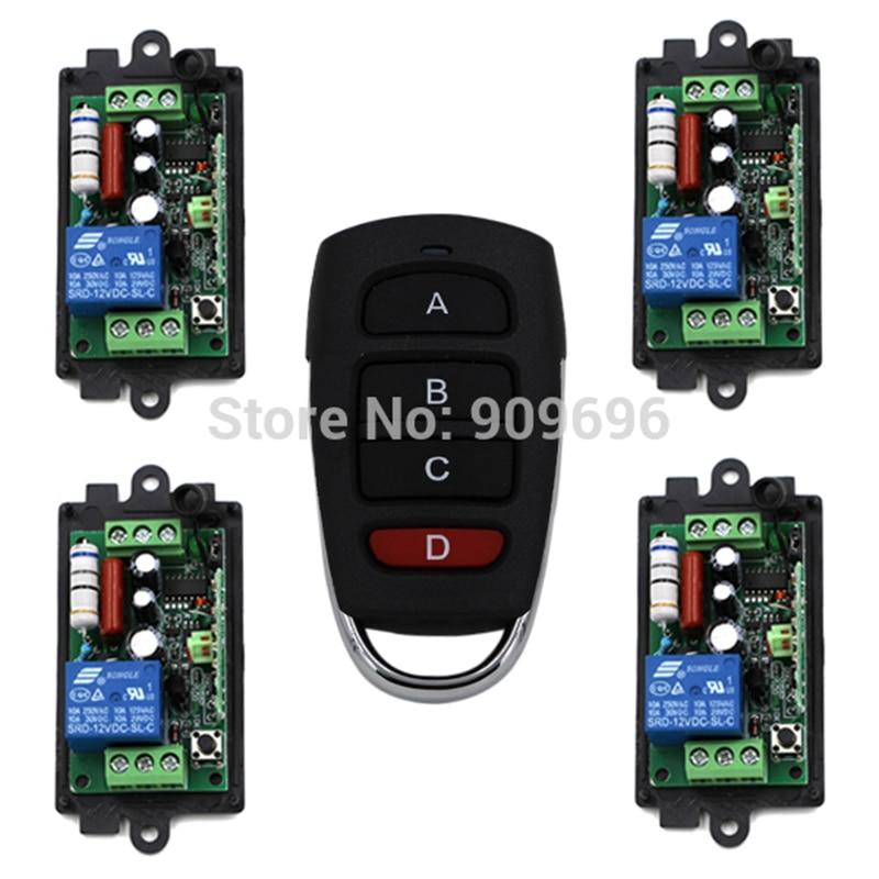 220V 110V 1CH Radio remote control switch light lamp LED ON OFF 4Receiver + 1transmitter Learning Code built in remote on off control and remote sense function scn 800 12 220v 12v transformer led