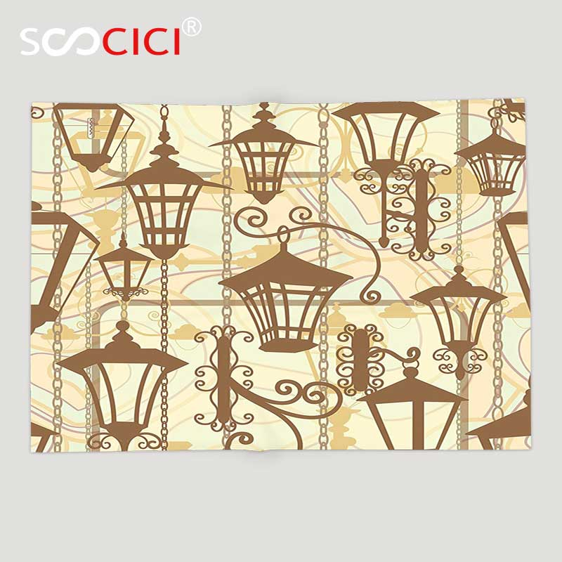 New Fashion Custom Soft Fleece Throw Blanket Beige Decor Collection Graphic Of Old Town Wrought Lanterns Nostalgic Style Urban Life Boho Replacement Batteries Batteries