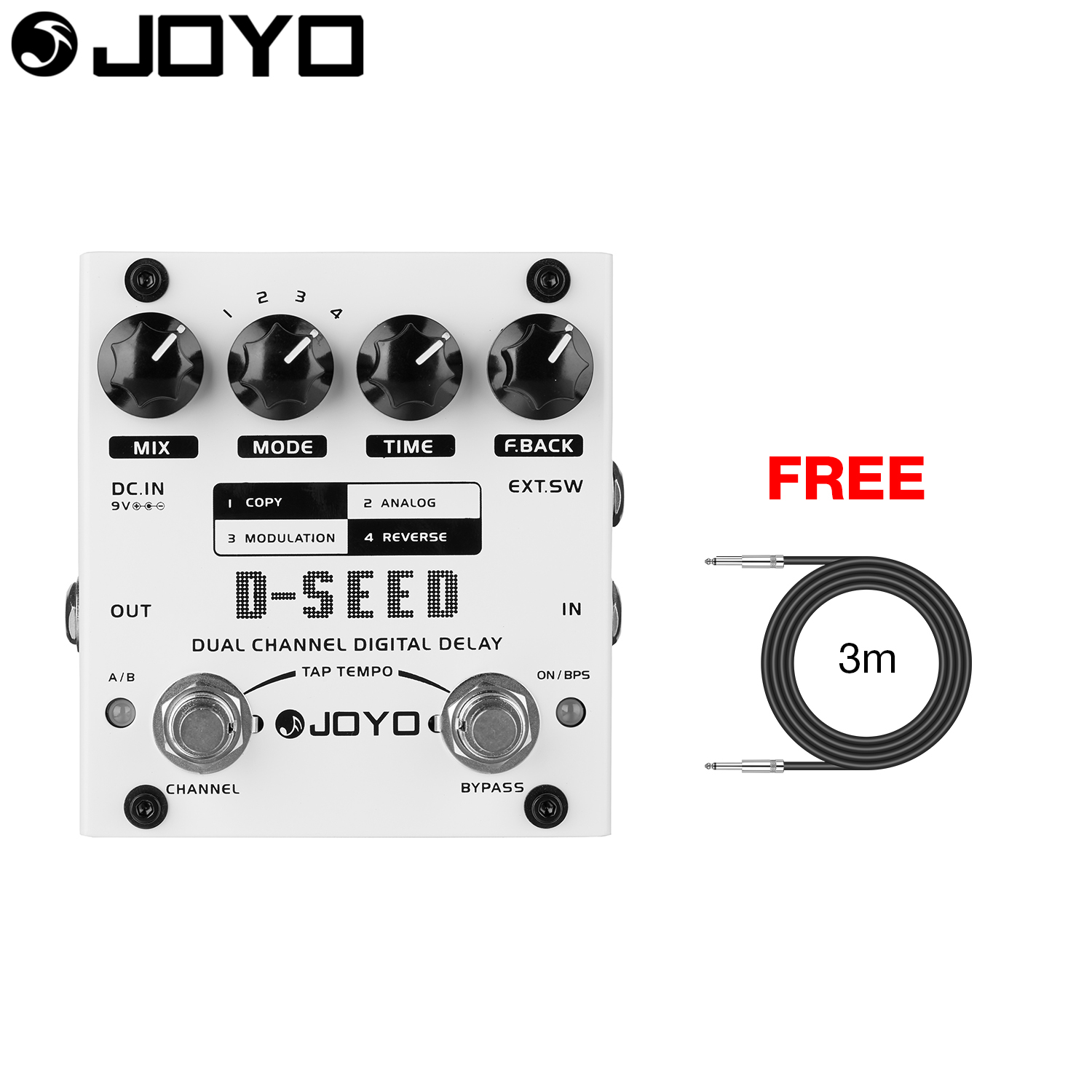JOYO Dual Channel Digital Delay Guitar Effect Pedal TAP-TEMPO Function External Trigger Input D-SEED with Free 3m Cable