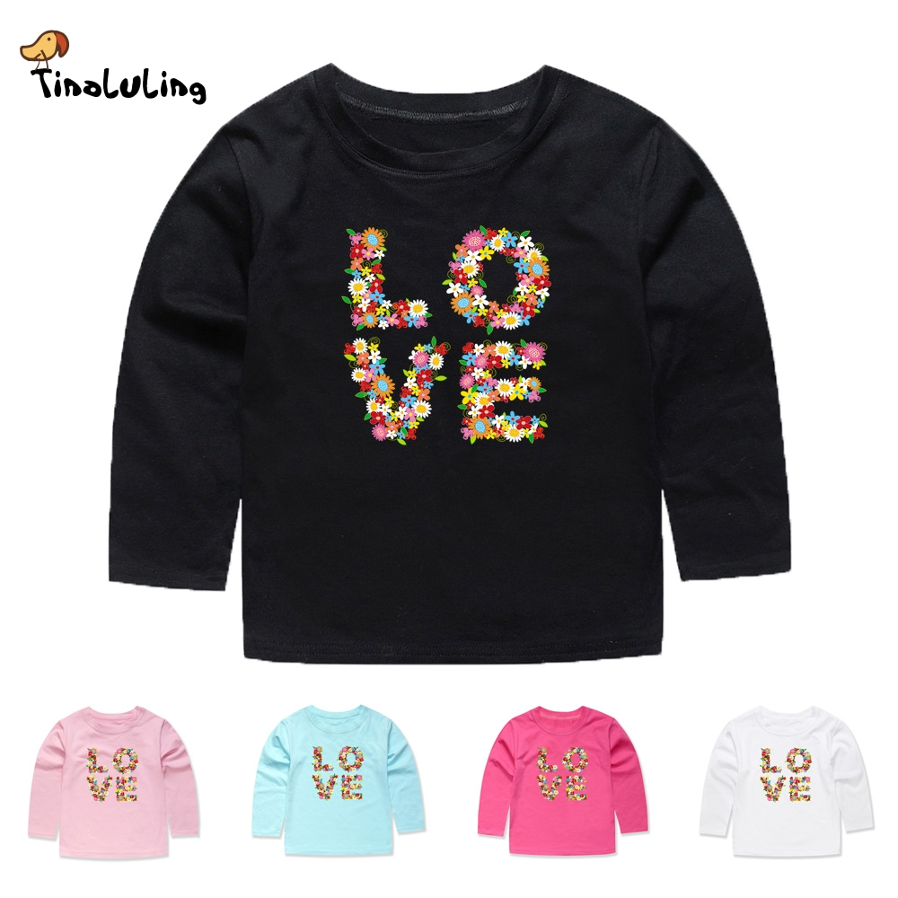 TINOLULING 2018 Baby Girls Love T shirts Kids Flower T-Shirts Children Clothing Boys Tees For Spring Autumn