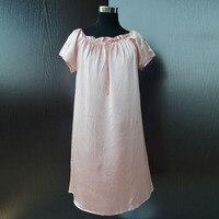 Silk Pajama Dress 100 Natural Silk Charmeuse Satin Silk Summer Style Women Nightgown Dress Position Printing
