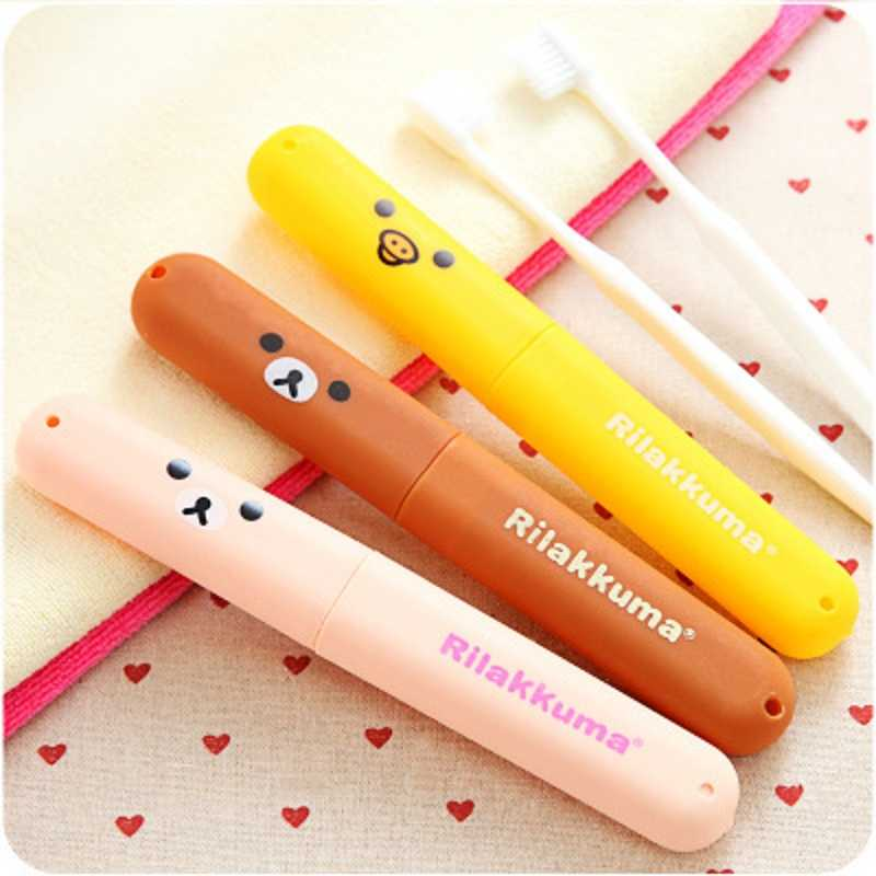 1PCs New Cartoon Rilakkuma Duck Portable Empty Toothbrush Box Travelling Anti-dust Storage Boxes Accessories For Bathroom F2438