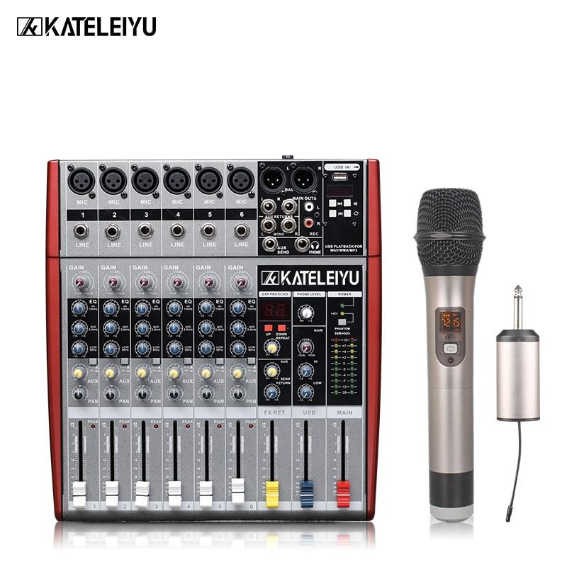 KATELEIYU W6000T6 6-channel high quality hot sales USB professional audio dj mixer high quality kl audio 12 channel 8 x 4 channel 50 pro audio low profile stage box snake cable 8x4x50