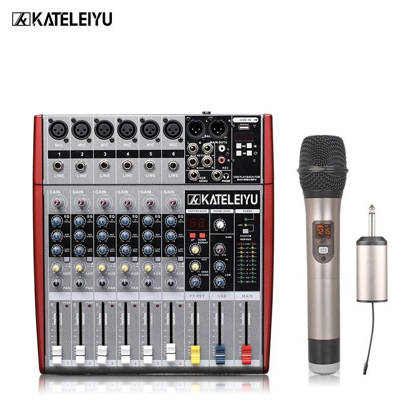 KATELEIYU W6000T6 6-channel high quality hot sales USB professional audio dj mixer