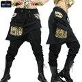 Взрослые Дети Женщины штаны костюм носить большой промежности бронза карандаш брюки Мандарин Брюки Золото Серебро Hip hop гарем танцевальные Брюки