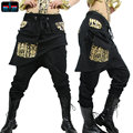 Adult Kids Women sweatpants costume wear big crotch bronze pencil pants Mandarin Trousers Gold Silver Hip hop harem dance Pants