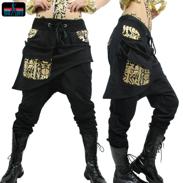 Adult Kids Women sweatpants costume wear big crotch bronze pencil pants Mandarin Trousers Gold Silver Hip hop harem dance Pants