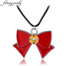 Classic Anime Sailor Moon Necklace Charm Red Bow Tie Bowknot Pendant Necklace For Women Fashion Jewelry Accessories