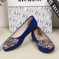 Spring Summer Women Fashion Pointed Toe Flats Bling Crystal Female Low Heel Casual Ankle Flats Beaded Women Shoes Casual Flats