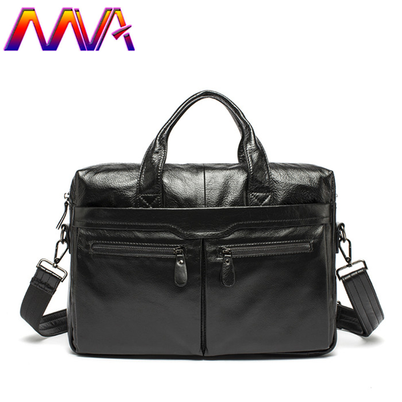 MVA Newly cow leather men briefcase with 100% genuine leather laptop men bag for fashion men crossbody bag men handbag